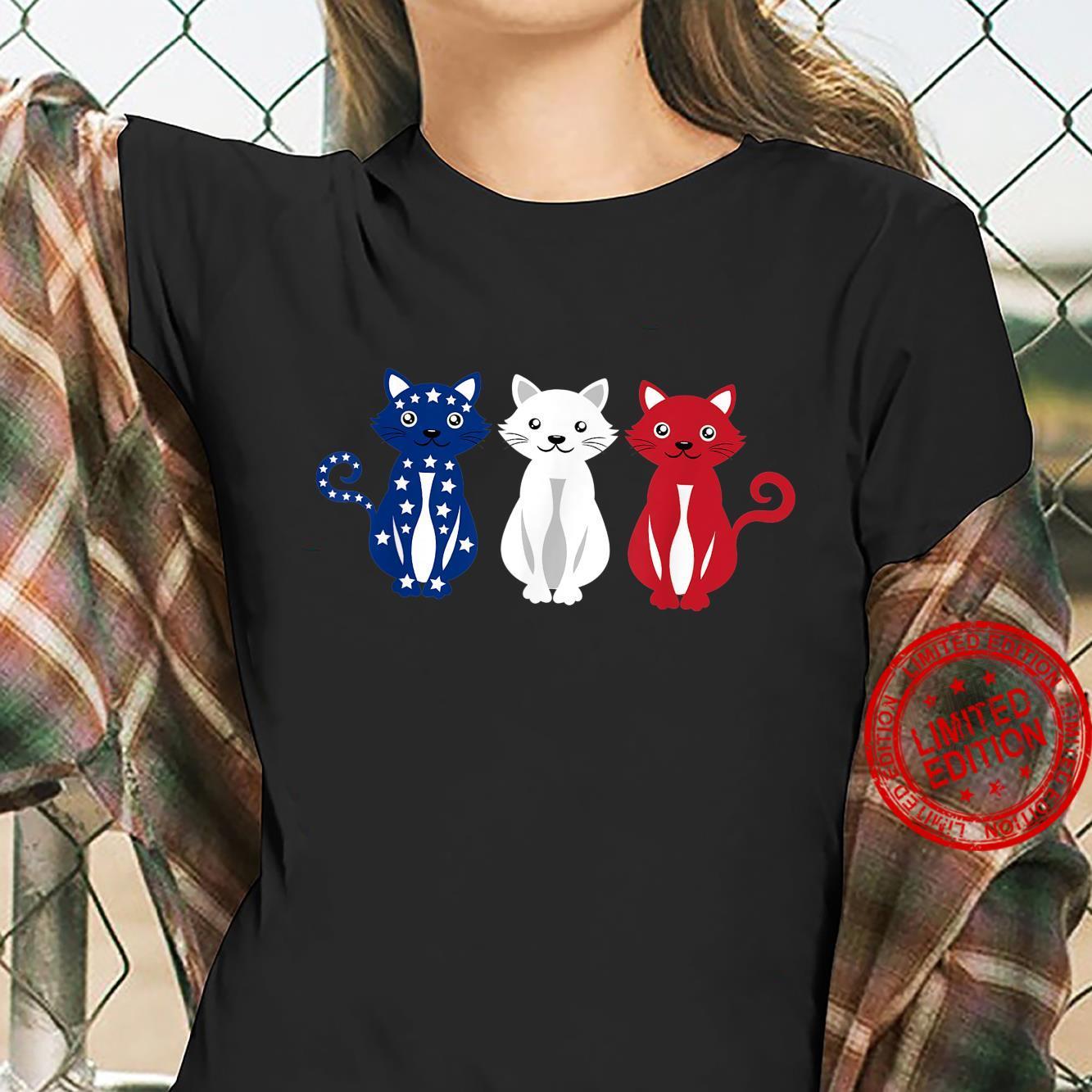 Cats USA America Flag 4th of July Patriot Shirt ladies tee