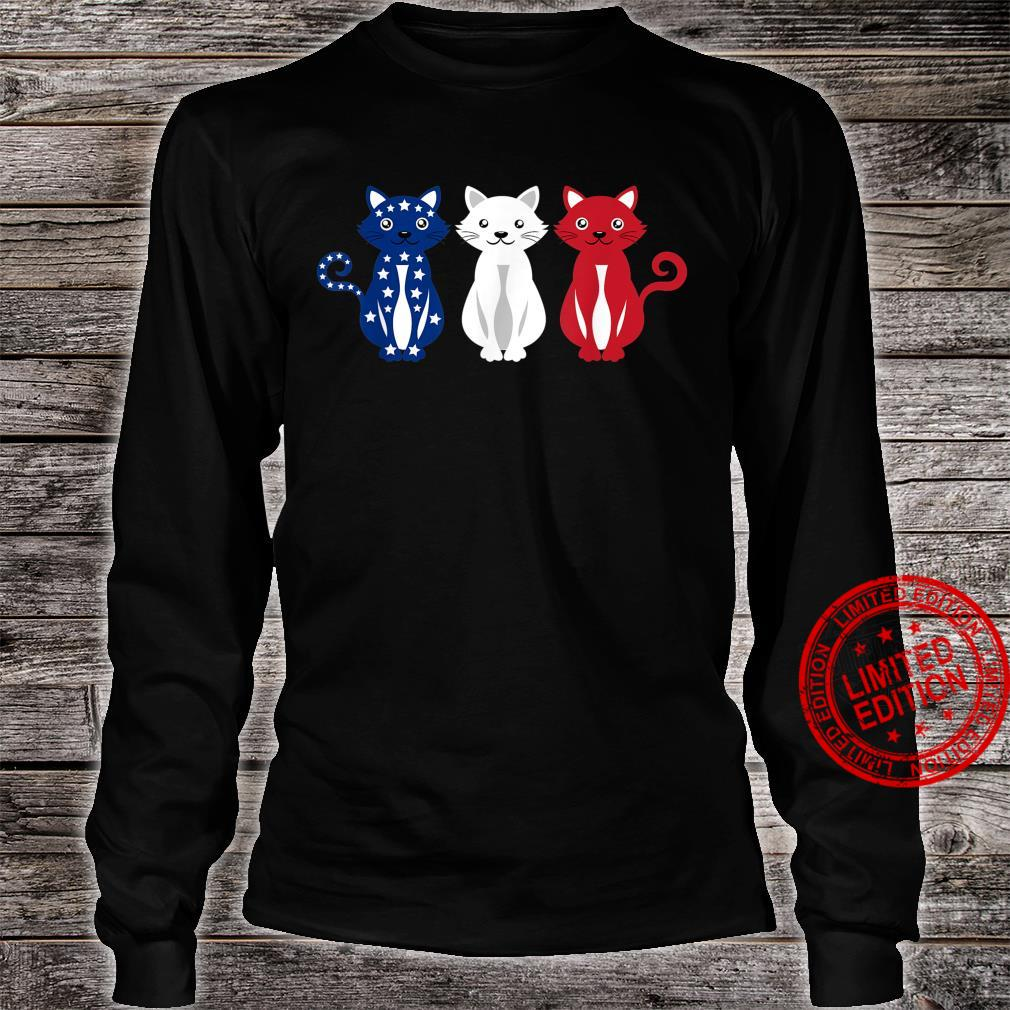 Cats USA America Flag 4th of July Patriot Shirt long sleeved