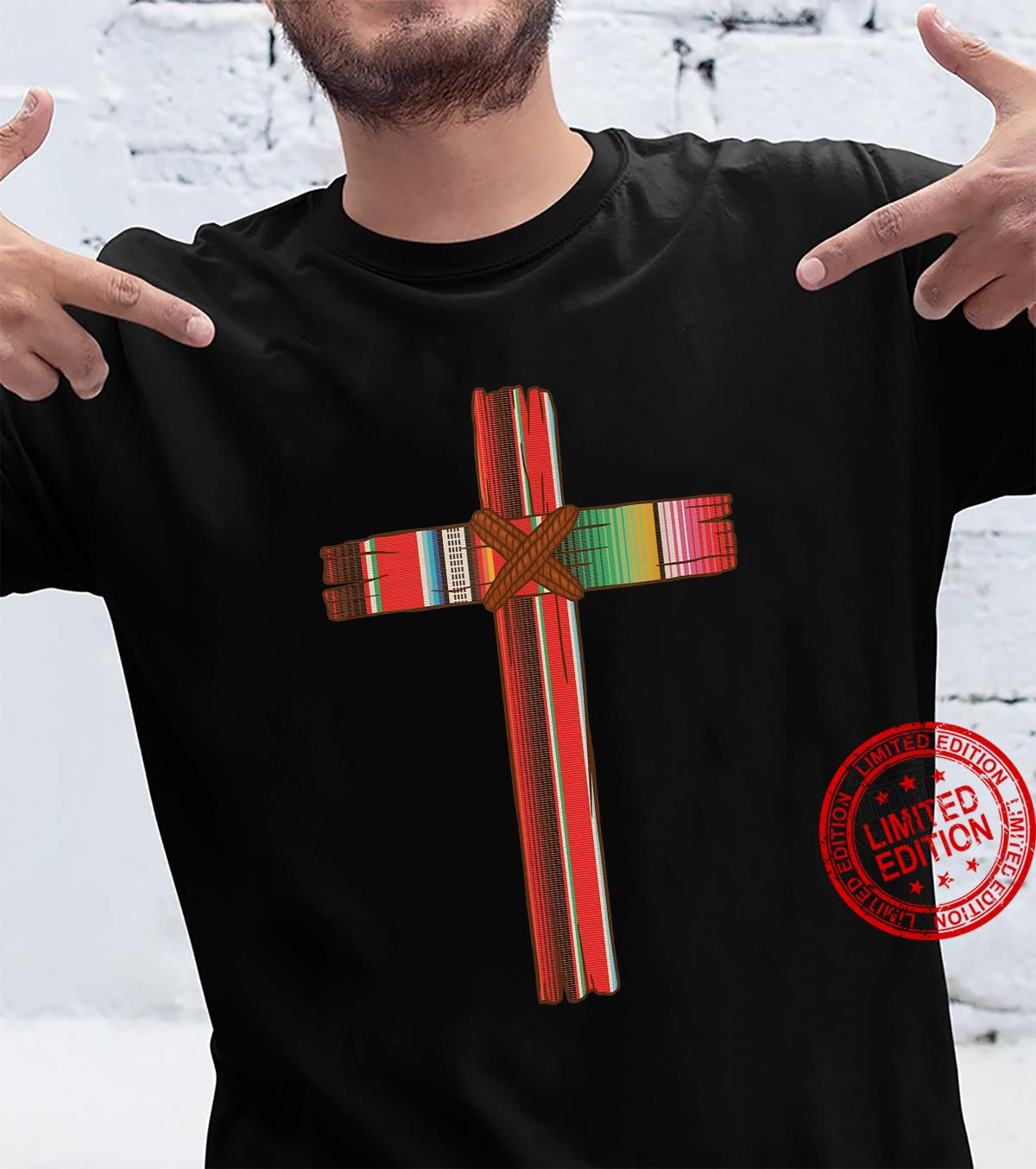 Christian Mexican Inspired Serape Cross Related Tied Rope Cr Shirt