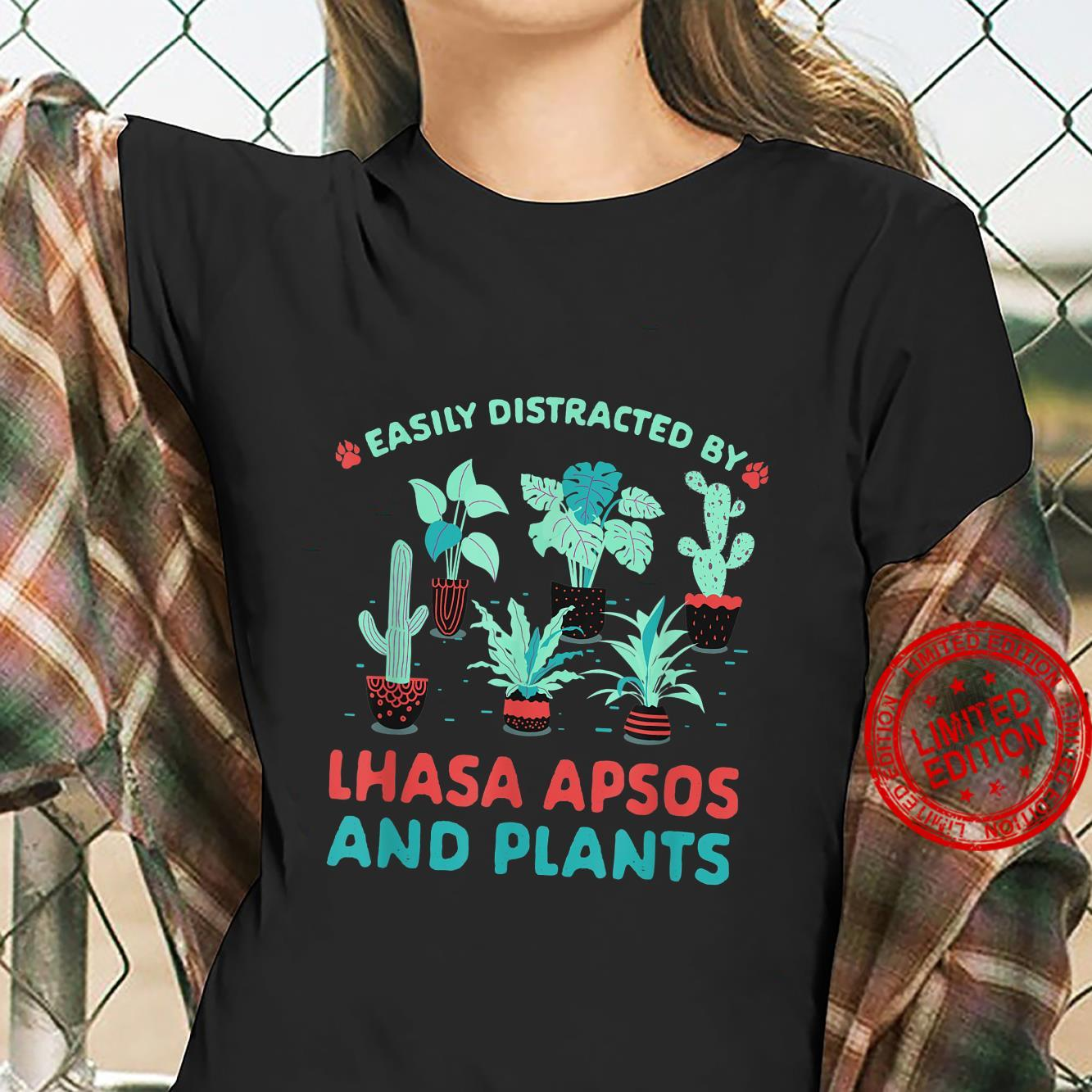 Easily Distracted by Lhasa Apsos and Plants Shirt ladies tee