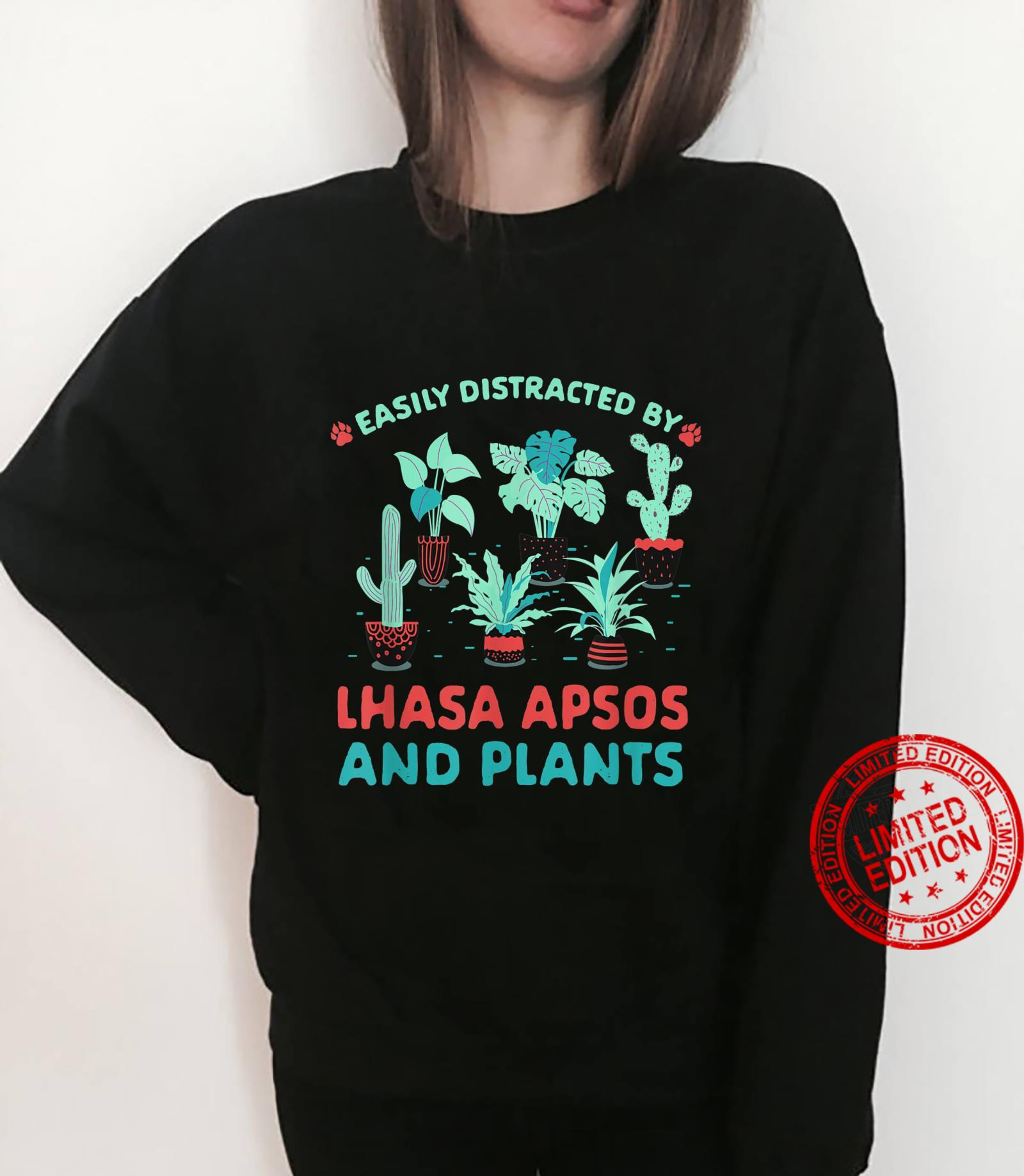 Easily Distracted by Lhasa Apsos and Plants Shirt sweater