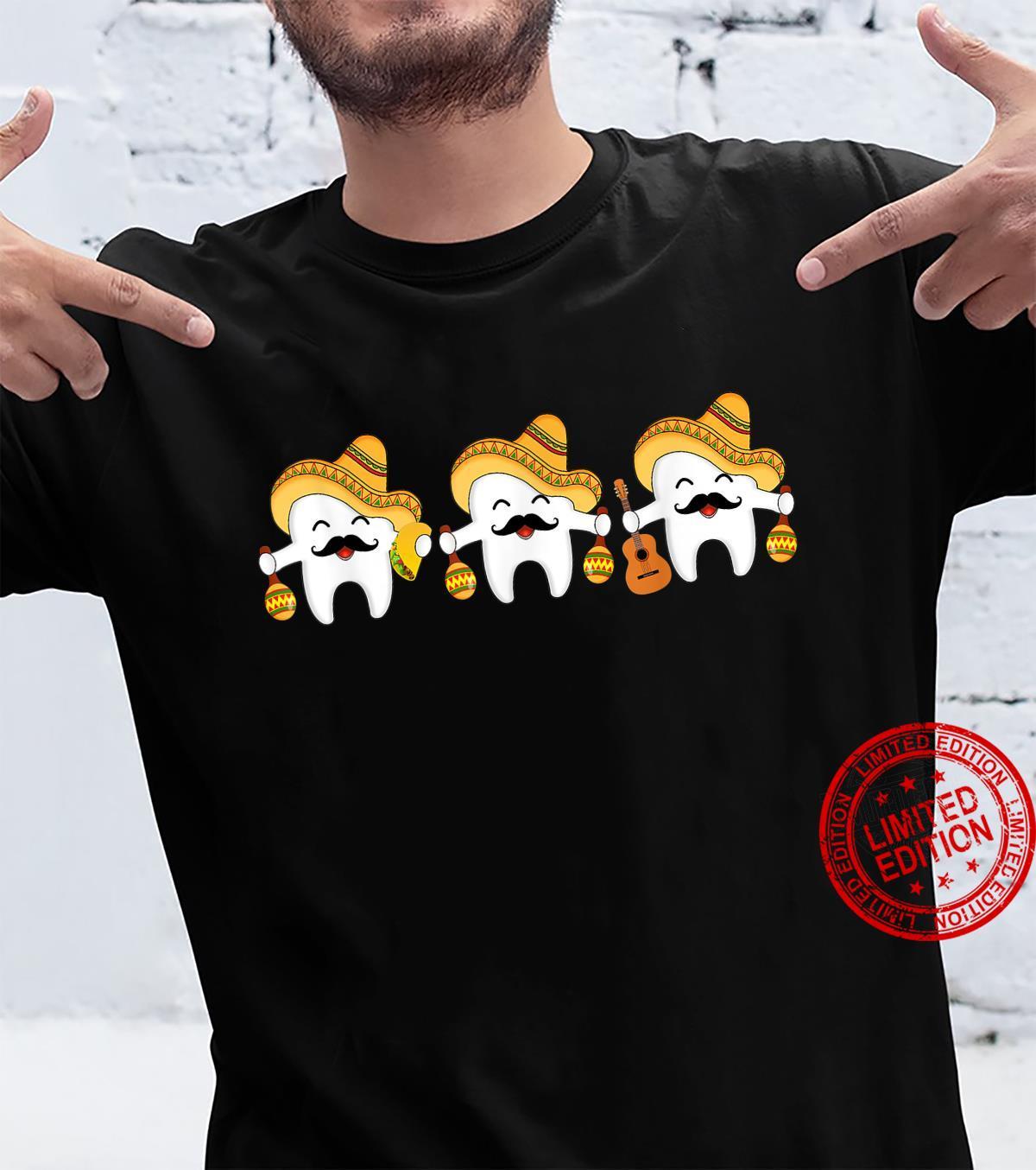 Tooth Dental Dentist Cinco De Mayo Sombrero Tacos Guitar Shirt