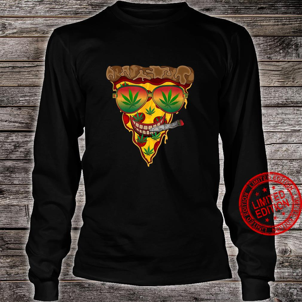 Slice of Pizza with Pot Leafs Marijuana and Pizza Shirt long sleeved